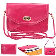 Universal Cell Phone Cross-body Purse,Horizental Mini Shoulder Bag Soft PU Leather Carrying Cases for Apple iPhone 6s/6 Plus iPhone 6/6s,Samsung Galaxy S6 and Note Series,Phones Under 6.1 inch-Rose