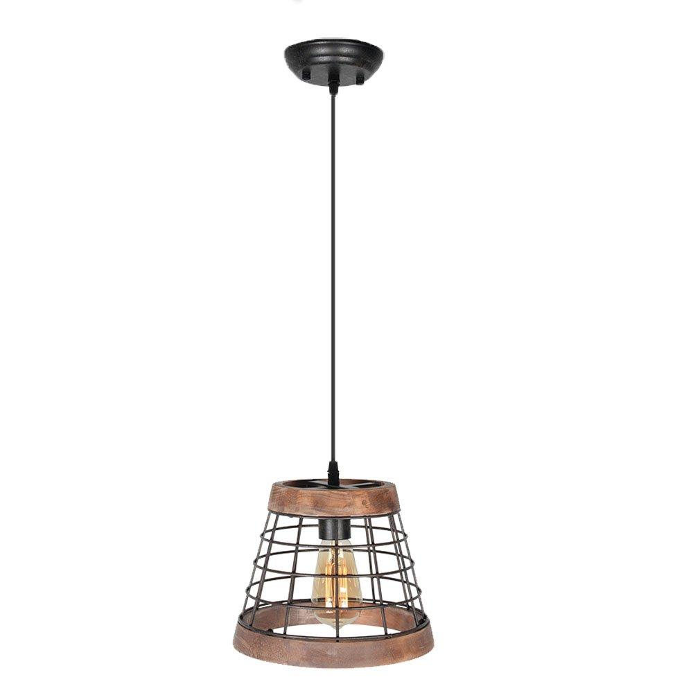 Baiwaiz Farmhouse Pendant Lighting, Wood Kitchen Island Lighting Metal Cage Hanging Light Fixture 1 Light Edison E26 064