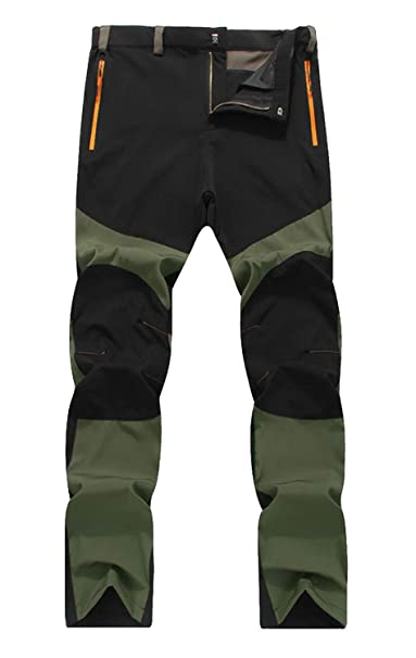 111f9d6e04e Fanhang Men s Outdoor Camping Hiking Moutaineering Sking Trousers  (Army-Black