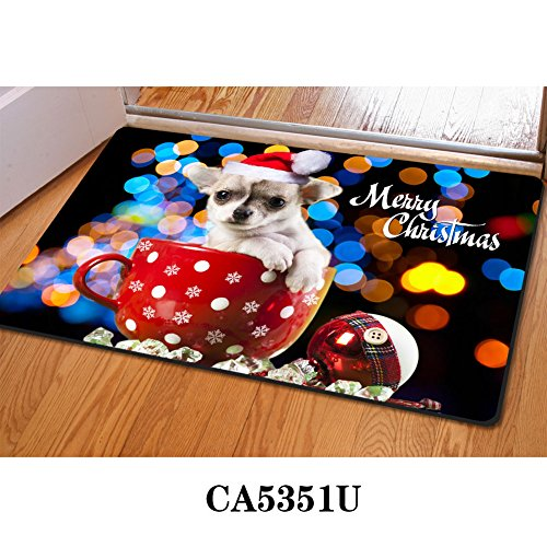 HUGS IDEA Tiny Teacup Poodle Pattern Cute Welcome Floor Doormats Non-Slip Kitchen Living Room Mat