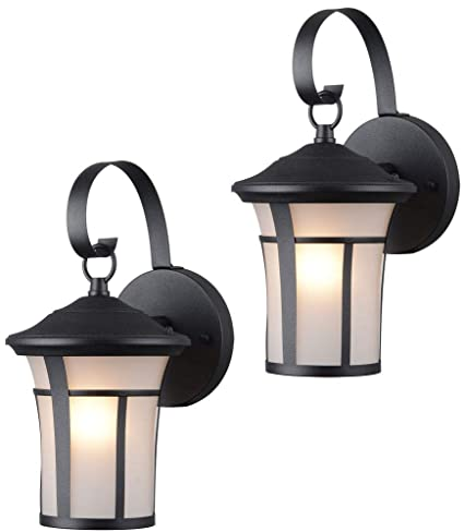 Hardware House 22 9692 Textured Black Outdoor Patio Porch Wall Mount Exterior Lighting Lantern Fixtures With Frosted Glass Twin Pack