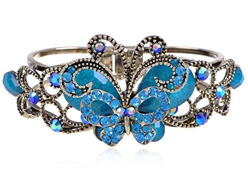 Alilang Vintage Turquoise Stone Aquamarine Crystal Rhinestone Flower Butterfly Cuff Bangle Bracelet