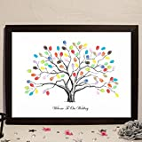 Wedding Fingerprint Tree Thumbprint Tree Canvas DIY Fingerprint Tree Canvas Wedding Guest Book Tree with 8 Color Ink Pads 100 Or 200 Guests (Tree, 100 Guests)