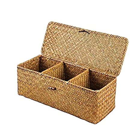 Genial 3 Grids Hand Woven Water Hyacinth Baskets With Lid, Straw Storage Basket