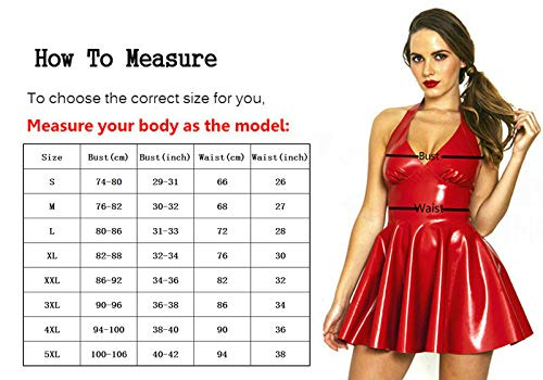 FASHION QUEEN Women's Sexy Black & Red Halter PVC Mini Dress Side Zip Backless Clubwear (5XL, Red)