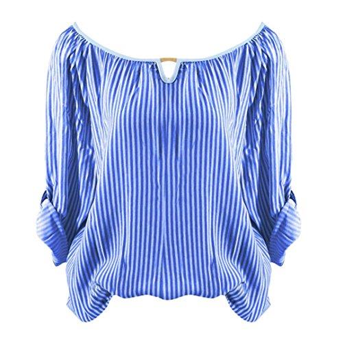 zahuihuiM Femmes Printemps Automne Mode Nouveau T-Shirt Solide Ray Imprimer O-Cou  Manches Longues Tops Blouses Bleu