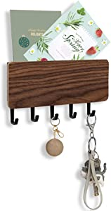 FOVERN1 Wall Mounted Mail Holder with 5 Key Hooks, Key Holder for Wall, Japanese Minimalist Designed Wall Mail Sorter Key Hanger for Entryway, Mudroom, Hallway, Kitchen, Office(Brown)