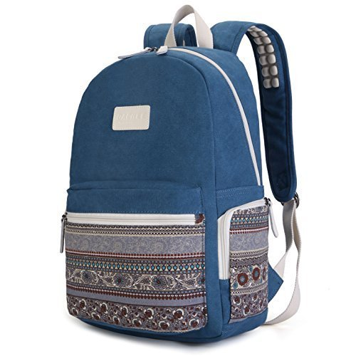 Dachee Blue Bohemian Laptop Backpack with Massage Cushion Straps for 13 Inch 14 Inch 15 Inch Laptop and Macbook Air 13,macbook Pro 13 Travel Backpack for Men Macbook Pro 15 Backpack Student Backpack