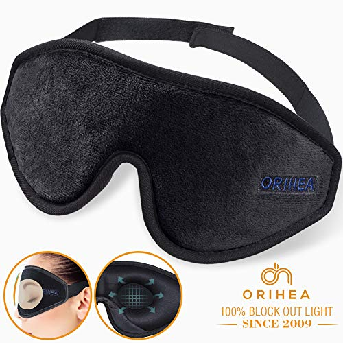 Sleep Mask for Women & Men, OriHea Upgraded 3D Contoured Eye Mask for Sleeping, Ultra Soft Breathable Sleeping Eye Mask, 100% Blackout Eye Shades Blindfold for Complete Darkness