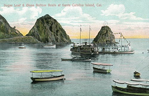 Santa Catalina Island, California - Sugar Loaf and Glass Bottom Boats View (24x36 SIGNED Print Master Giclee Print w/Certificate of Authenticity - Wall Decor Travel Poster)