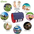 """yodo Extra Large Outdoor Waterproof Picnic Blanket Tote 79"""" x 79""""/79"""" x 59"""" Light Weight with Soft Fleece and Padding,Spring Summer Stripe"""