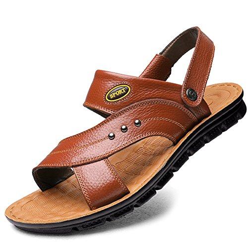 De Caminar De para On Al De Libre Genuino De para Aire MERRYHE Slip Cuero Adultos Sandalias Piscina Gran Zapatos Tamaño Playa para Slippers Hombres Yellow1 Sandalias q1IwxO0C