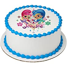 """Shimmer and Shine Be Jeweled Licensed Edible 8"""" Round Cake Topper #43969"""
