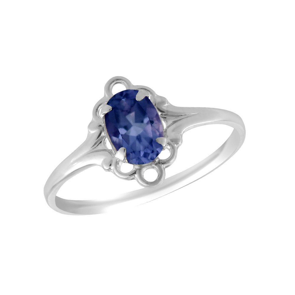 Sterling Silver Oval Shape Simulated September Birthstone Ring For Girls (size 4)