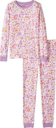 Hatley Kids Baby Girl's Unicorn Doodles Organic Cotton Pajama Set (Toddler/Little Kids/Big Kids) White 4T ()