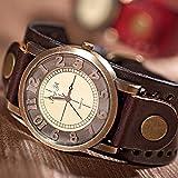 Retro Dial Top Quality Cow Leather Band Quartz Women's Men's Bracelet Watch