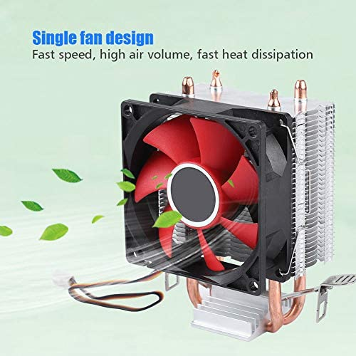 fosa Lightless Mini Computer Cooling Fan with Dual Heat Pipes Mini PC U-Shaped CPU Cooler Single Silent Fan High Efficiency Low Power Consumption 2 Copper Pipe Computer Case Cooler Red
