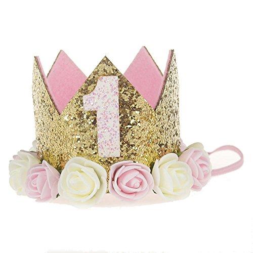 Baby Crown First Birthday Hat Headband Princess Tiara Rose Flower Hair Accessories Sparkle Gold
