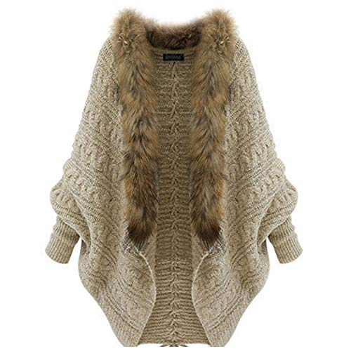 Forart Women's Open Front Knit Batwing Sleeve Faux Fur Collar Cardigan Sweaters Tops