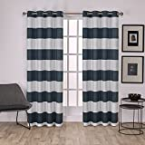 Cheap Exclusive Home Surfside Cabana Stripe Cotton Window Curtain Panel Pair with Grommet Top 54×84 Indigo 2 Piece