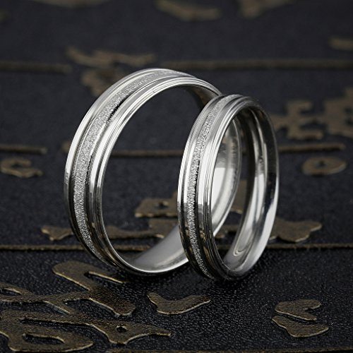 Stainless Steel Couple Wedding Bands for Him and Her 4MM Womens Promise Engagement Rings Size 7 by Aienid (Image #5)