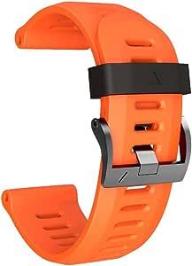 ANCOOL Compatible with Fenix 3 Bands 26mm Width Soft Silicone Watch Bands Replacement for Fenix 3 / Fenix 3hr / Fenix 5X / Fenix 5X Plus Smartwatches-Orange
