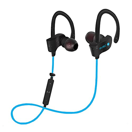 Cornmi Wireless Bluetooth Headphones with Mic Bluetooth Sport Wireless Headsets In-Ear Earbuds Sweatproof Running Gym Exercise Earphones for Iphone,Android Smart Phones, Bluetooth Devices (Blue)