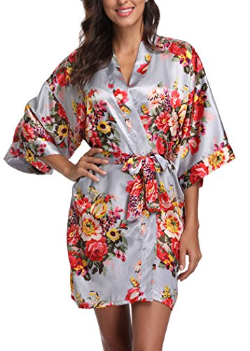 (Laurel Snow Floral Satin Kimono Robes for Women Short Bridesmaid and Bride Robe for Wedding Party,Grey L)