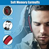 BENGOO Stereo Gaming Headset for PS4, PC, Xbox One Controller, Noise Cancelling Over Ear Headphones Mic, LED Light, Bass Surround, Soft Memory Earmuffs for Laptop Mac Nintendo Switch Games -Red