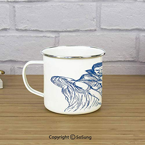 Vampire Travel Enamel Mug,Count Dracula in Cape Carrying His Prey Victim Woman Sketchy Halloween Artwork,11 oz Practical Cup for Kitchen, Campfire, Home, TravelBlue and White