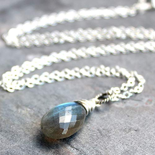 Labradorite Necklace Pendant Sterling Silver Blue Gray Gemstone Faceted Stone