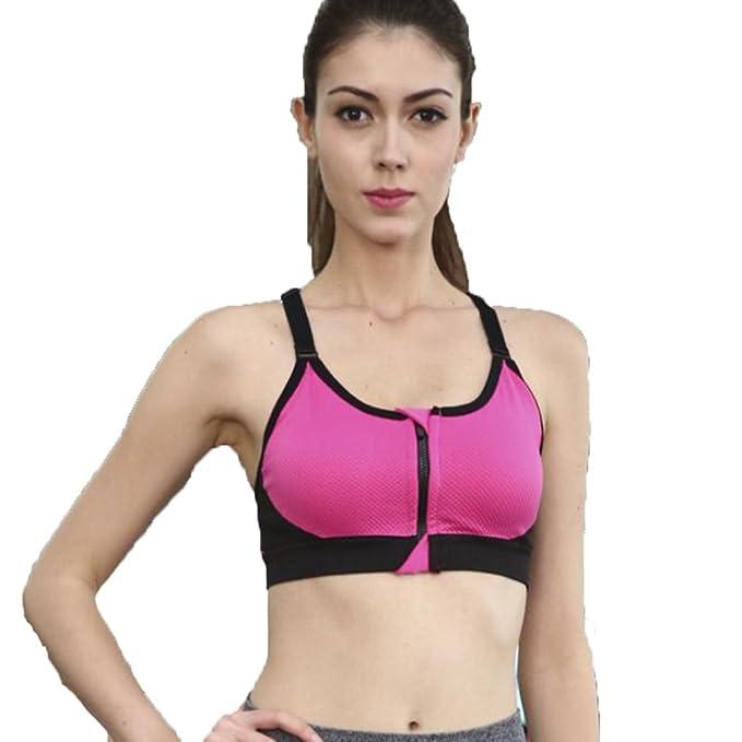 BOYANN Sujetadores Deportivos Mujer con Relleno Cremallera Alto Impacto, Rosa Roja S: Amazon.es: Ropa y accesorios