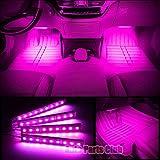 Car Interior Lights,Auto Parts Club 4pcs 12V Led Car Interior Lights/Car Atmosphere Light,Waterproof Glow Neon Light Strips Styling Interior Dash Floor Foot Decoration Light Lamp(Pink)