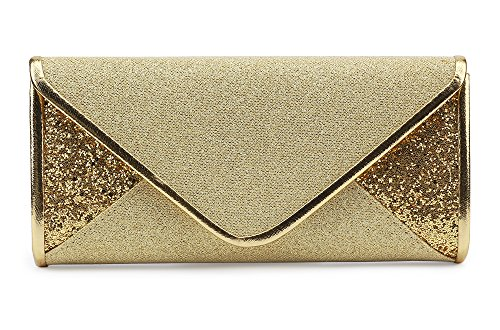 Marswoodsen Women Shining Envelope Clutch Purse Flicker Material Bridal Purse for Wedding