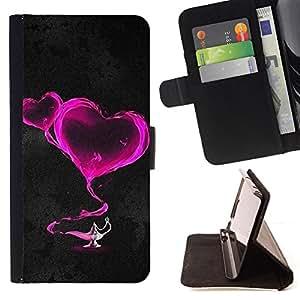 BullDog Case - FOR/Samsung Galaxy S6 EDGE / - / Two pink hearts /- Monedero de cuero de la PU Llevar cubierta de la caja con el ID Credit Card Slots Flip funda de cuer
