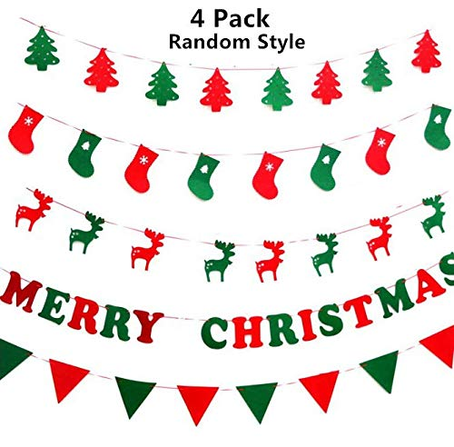 4 Packs Christmas Flag Banners, Carnatory Home Decor Decoration Banners Hanging Bunting Garland Christmas Party Decor Holiday String Ornaments Designed Christmas Tree Elk Santa Socks Merry Christmas Flags