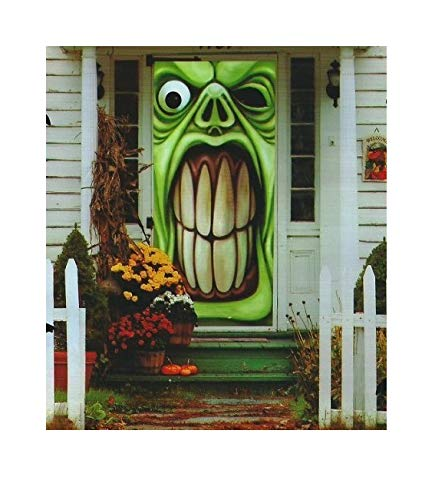 Halloween Creepy Spooky Stickers Decor Home Gel Clings Decorations Haunted House Window & Door GHOST Green Bundle of 2 ()