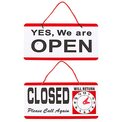 New 2-Pack of Open Closed Signs - Will Return Signs, Business Hours Sign, Store Signs, Small Business Signs, Red and White - 11.8 x 6 Inches xfDIviqz