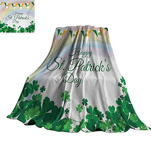 RenteriaDecor St. Patricks Day,Personalized Blankets Celebration Greeting with Rainbow and Flags Lucky Clovers Shamrock Plant Plush Microfiber Blanket 62