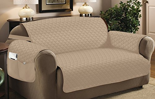 Home Sweet Home Quilted Slip Cover Furniture Protector (Chair, Taupe)