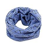 Babybekleidung Schals Herbst Winter baby jungen Mädchen drucken Kragen kinder Baumwolle Milchflasche-Design Schal gestrickt O Ring Halstücher (40*40cm, 2 - 10Jahre) (Blue)