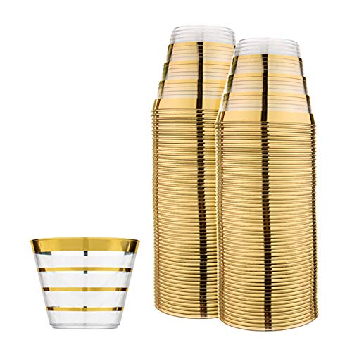 Perfect Settings Fancy Disposable Cups - Elegant Party Cups With Our Four Lined Gold Rim - Give Your Party The Golden Touch - Pack of 110 9oz Clear Plastic Cups