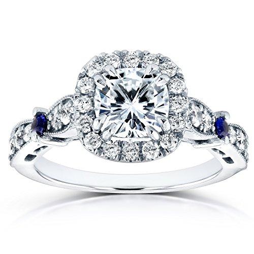 Forever Brilliant Moissanite Diamond and Sapphire Engagement Ring 1 5/8...