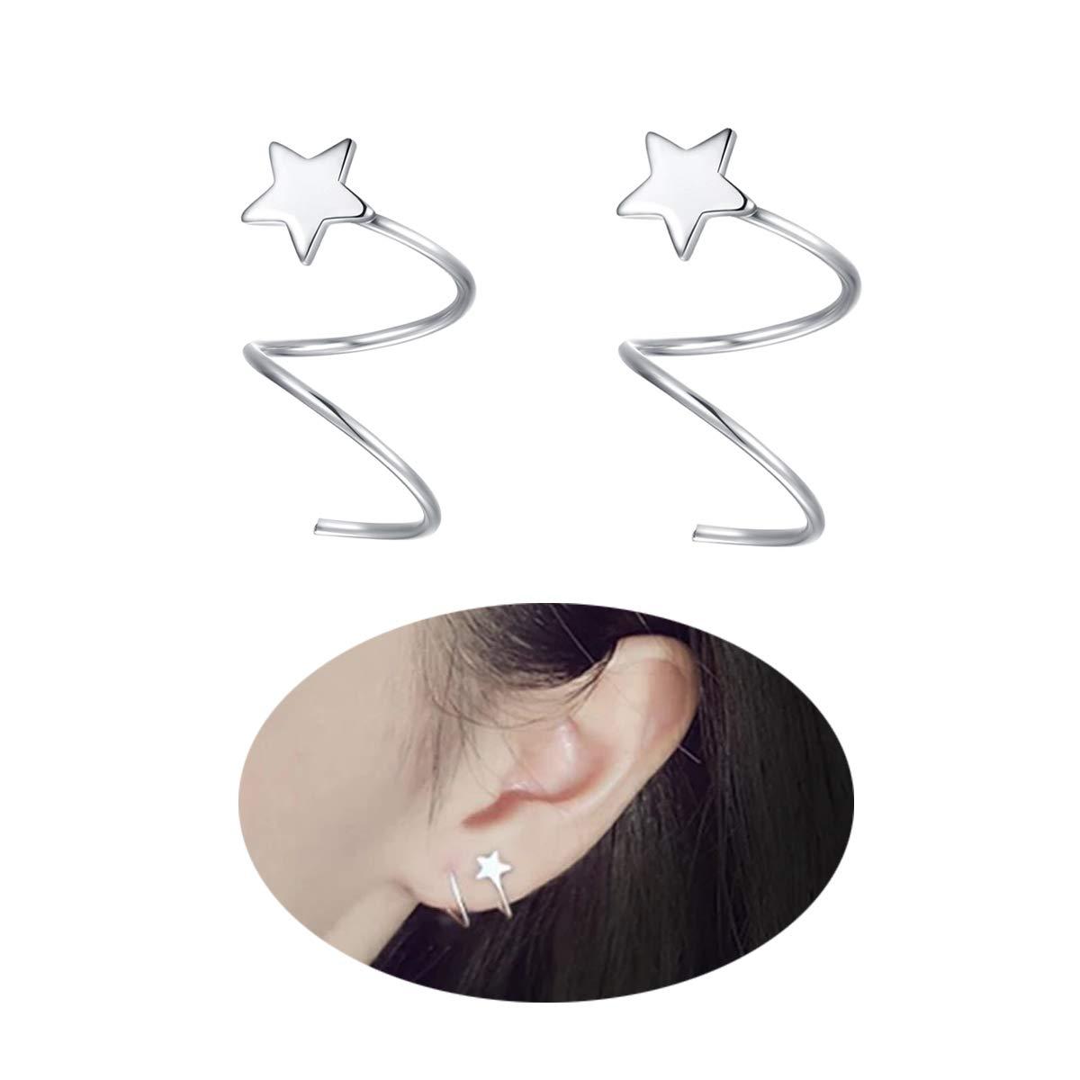 FarryDream 925 Sterling Silver Star Earrings Women Teen Girls Fashion Wrap Earrings SSE004+GiftBag