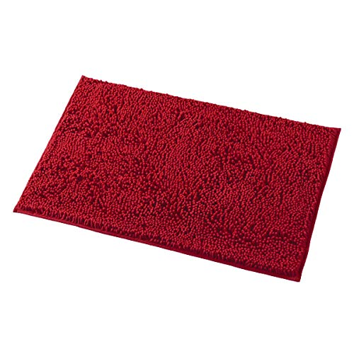 MAYSHINE 20x32 Inches Non-Slip Bathroom Rug Shag Shower Mat Machine Washable Bath Mats with Water Absorbent Soft Microfibers of Red