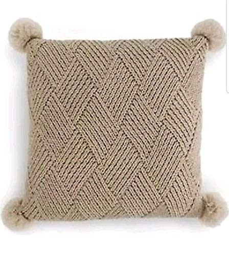 Martha Stewart Collection Basketweave Pom Pom Sweater Knit Decorative Pillow 20 in x 20 in
