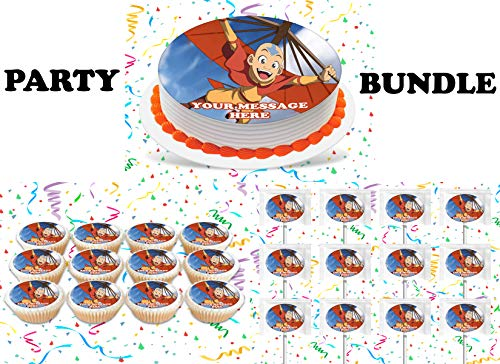 Avatar The Last Airbender Party Supplies 3 Pc Set Including Edible Image Round Cake Topper Frosting Sugar Sheet, Personalized Cupcakes, Lollipops Decorations