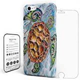 Sea World Tortoise Sea Turtle Phone Case Cover Tempered Glass Screen Protector For Iphone 7 Plus Customize Hard PC Phone Case Smooth Skin Waterproof Slim Protective Phone Protector