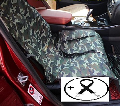 Economic Pet Seat Cover Front Car Mat for Small Medium Dogs Cats - Waterproof Anti-Scratch Seat Cover with Free Safty Seatbelt (Large, Camouflage) by Petall