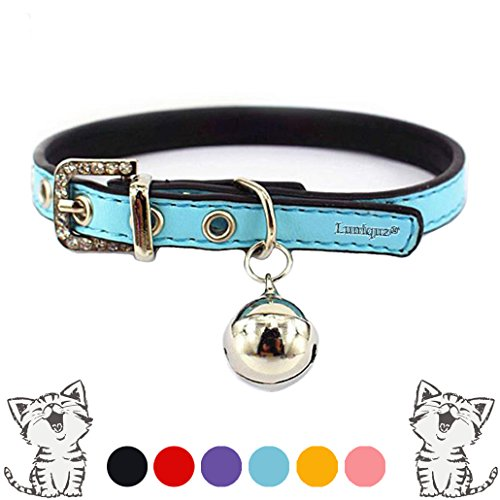Luniquz Leather Cat Collars with Buckle Bell Crystal Pet Necklace for Girl Kitty Puppy Small Dogs Non-fading Fit 8.6